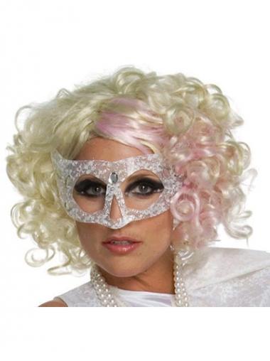 """Syntetisk Mellem 12"""" Blond Krøllet Uden Pandehår Lady Gaga Parykker"""