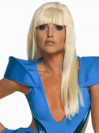 "Blond Syntetisk Lang Glat Med Pandehår 22"" Lady Gaga Paryk"
