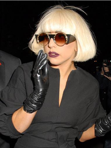 "Blond Syntetisk Mellem Bob Glat 10"" Lady Gaga Parykker"