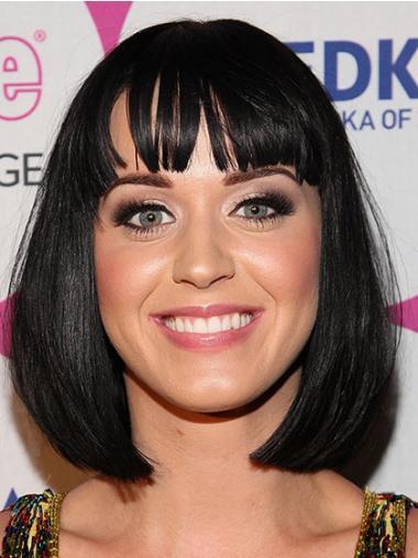 """Mellem Bob Capless 12"""" Sort Glat Katy Perry Parykker"""