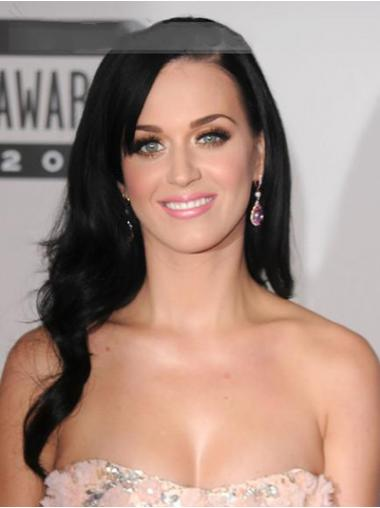 "Lang Sort 20"" Ægte Hår Bølge Lace Front Katy Perry Paryk"