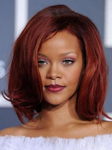 "Mellem 12"" Rød Glat Capless Uden Pandehår Rihanna Parykker"