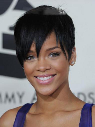 "Kort 5"" Sort Glat Lace Front Rihanna Paryk"