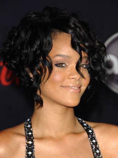 """12"""" Sort Indiske Ægte Hår Mellem Glat Capless Rihanna Parykker"""