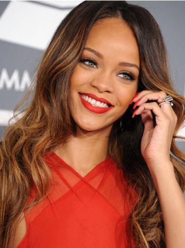 "Lang 24"" Brun Bølge Capless Uden Pandehår Rihanna Paryk"