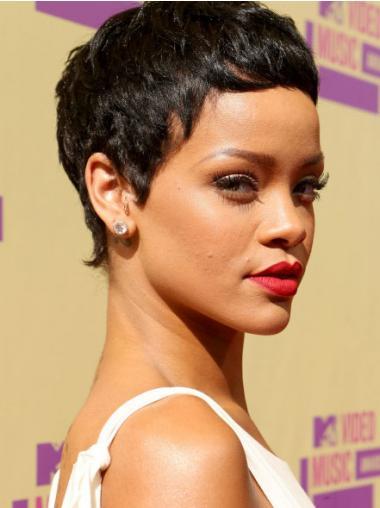 """3"""" Sort Syntetisk Kort Glat Capless Rihanna Paryk"""