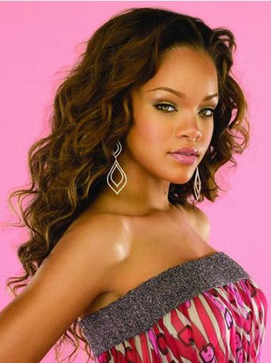 "Lang 22"" Brun Bølge Capless Uden Pandehår Rihanna Paryk"