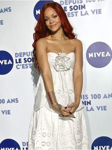 """Lang 22"""" Rød Bølge Capless Uden Pandehår Rihanna Paryk"""