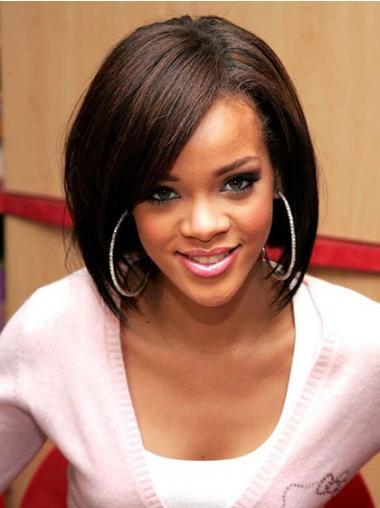 """Bob Lace Front 12"""" Brun Mellem Glat Rihanna Parykker"""