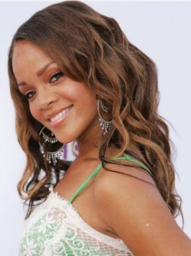 """Lang 18"""" Brun Bølge Lace Front Uden Pandehår Rihanna Paryk"""