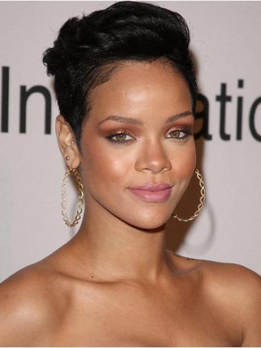 "Kort 6"" Sort Glat Lace Front Rihanna Paryk"