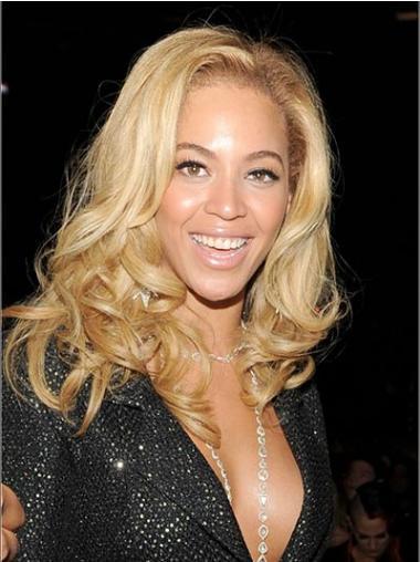 """Mellem 14"""" Blond Brasiliansk Ægte Hår Bølge Uden Pandehår Beyonce Parykker"""