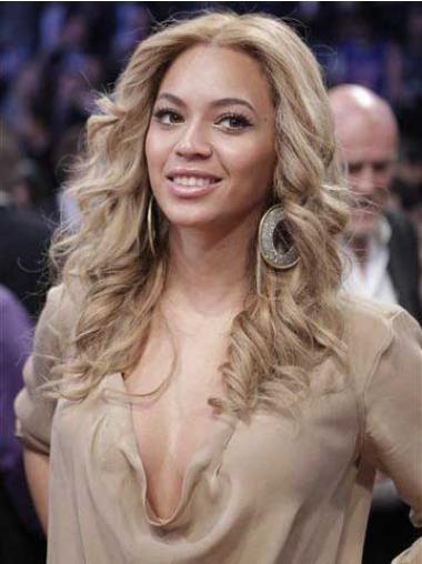 """Lang 16"""" Blond Syntetisk Bølge Uden Pandehår Beyonce Parykker"""