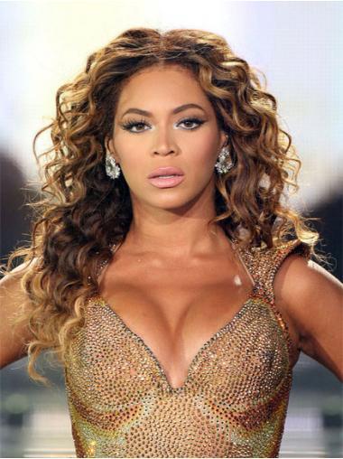 """Brun 20"""" Krøllet Lace Front Uden Pandehår Beyonce Paryk"""