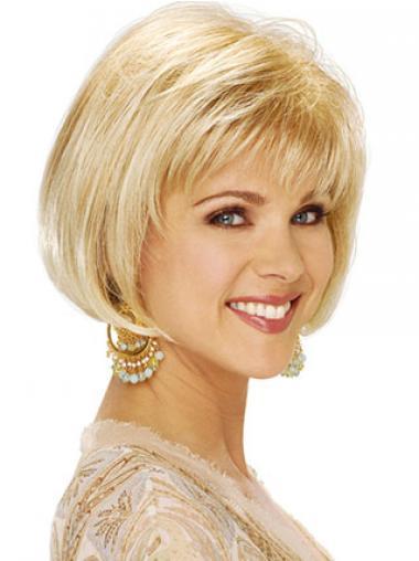 "Kort Bob Capless 8"" Blond Glat Klassiske Parykker"