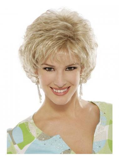 """Blond 6"""" Kort Syntetisk Krøllet Capless Klassiske Parykker"""
