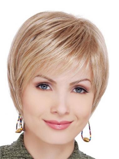 """Glat Kort Syntetisk 6"""" Blond Lace Front Paryk"""