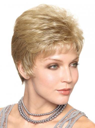 """Blond Capless Glat Kort 6"""" Klassiske Parykker"""