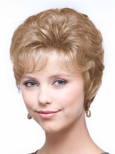 """Blond 6"""" Kort Syntetisk Bølge Capless Klassiske Parykker"""