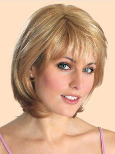 """Bob Lace Front 10"""" Blond Mellem Glat Parykker Til Kræftramte"""