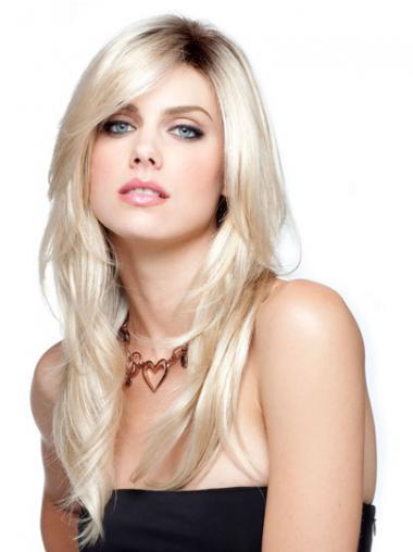 "18"" Blond Syntetisk Glat Lange Parykker"