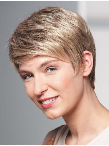 """Blond 4"""" Bølge Capless Kort Ægte Parykker Til Kvinder"""