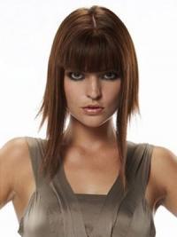 Glat Lang Rødbrun Ægte Hair Hårstykker