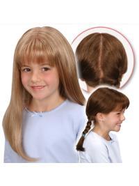 "Syntetisk Lang Glat 20"" Blond Monofilament Parykker Til Barn"