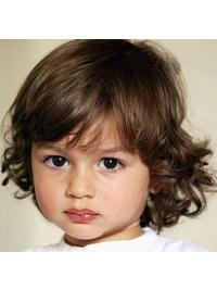 """Ægte Hår 8"""" Mellem Blond Krøllet Parykker Til Barn"""