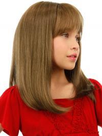 "Mellem 16"" Blond Glat Lace Front Parykker Til Barn"
