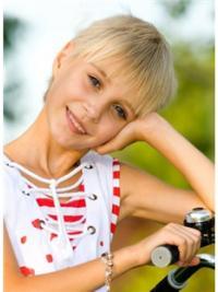 """Ægte Hår Kort Glat 6"""" Blond 100% Hand-tied Parykker Til Barn"""