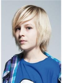 """Ægte Hår 8"""" Mellem Blond Glat Parykker Til Barn"""