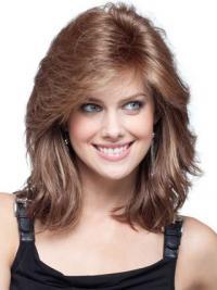 """Rødbrun 16"""" Bølge Med Pandehår Lace Front Parykker af ægte hår"""