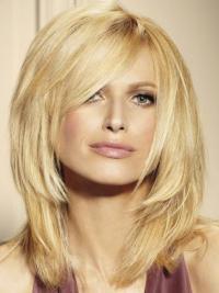 """Ægte Hår Mellem Glat 14"""" Blond Lace Front Parykker Til Kræftpatienter"""