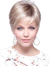 """4"""" Blond Syntetisk Kort Glat Capless Petite Parykker"""