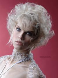 "Platin Blonde Syntetisk Kort Krøllet 10"" Fashion Parykker"
