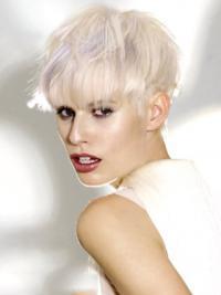 """Platin Blonde Syntetisk Kort Glat 8"""" Fashion Parykker"""