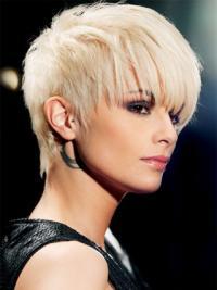 "Stil 8"" Syntetisk Platin Blonde Kort Glat Capless Fashion Parykker"