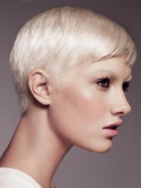 "Prisbillig 8"" Syntetisk Platin Blonde Kort Glat Capless Fashion Parykker"