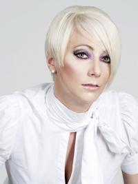 "Alle tiders Lace Front 8"" Platin Blonde Kort Glat Fashion Parykker"