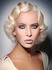 "Lace Front 10"" Platin Blonde Mellem Bølge Fashion Parykker"