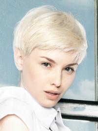 "No-ballade Lace Front 8"" Platin Blonde Kort Glat Fashion Parykker"