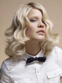 "Mellem Bølge Full Lace 14"" Platin Blonde Fashion Parykker"