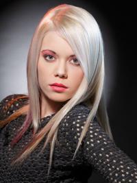 "Lang Glat Lace Front 16"" Platin Blonde Fashion Parykker"